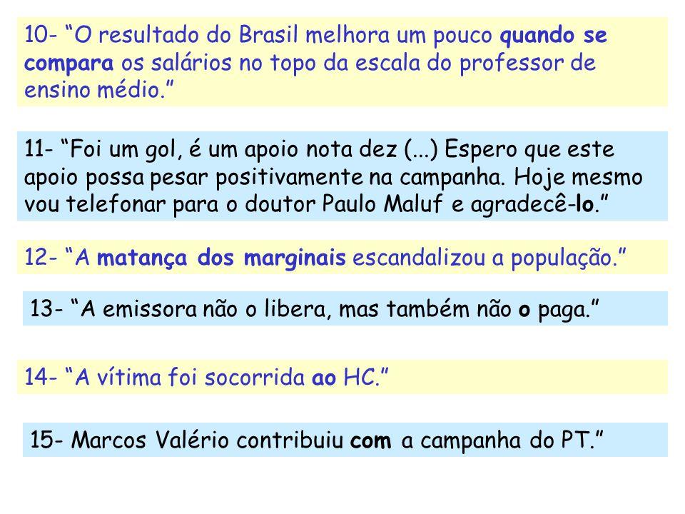 10- O resultado do Brasil melhora um pouco quando se compara os salários no topo da escala do professor de ensino médio.
