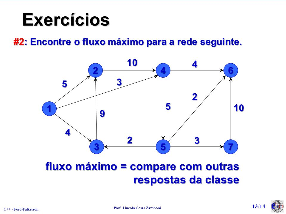 Exercícios fluxo máximo = compare com outras respostas da classe