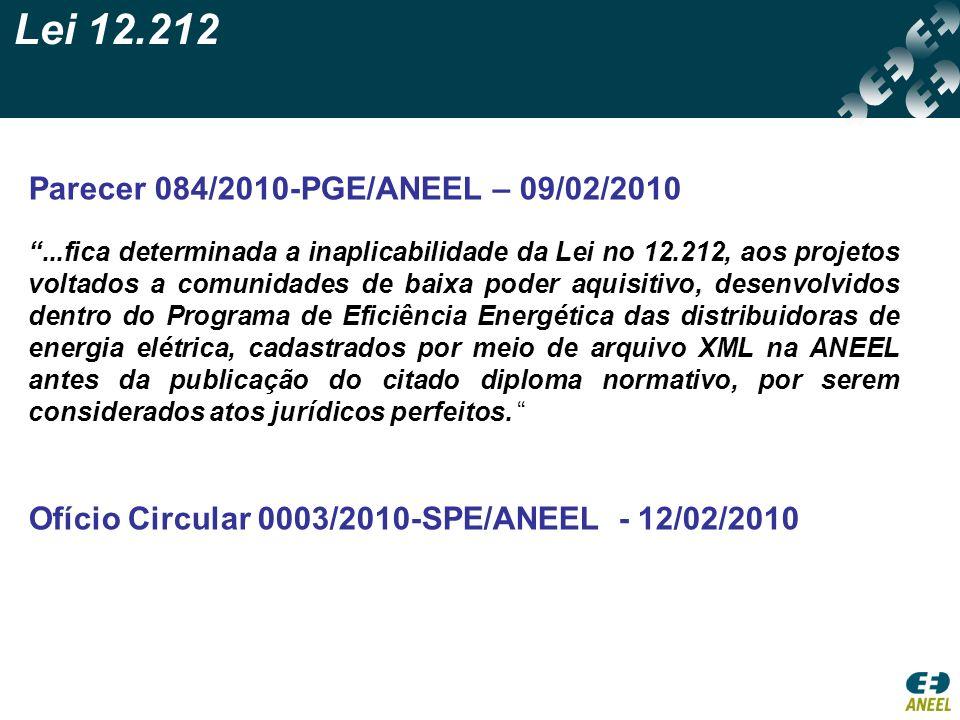 Lei 12.212 Parecer 084/2010-PGE/ANEEL – 09/02/2010