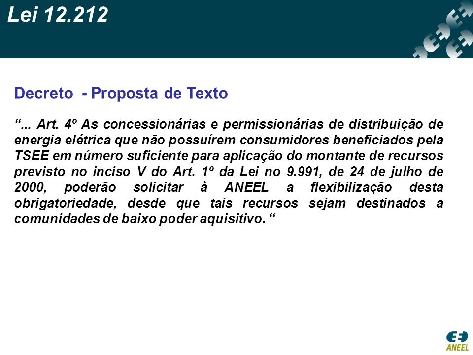 Lei 12.212 Decreto - Proposta de Texto
