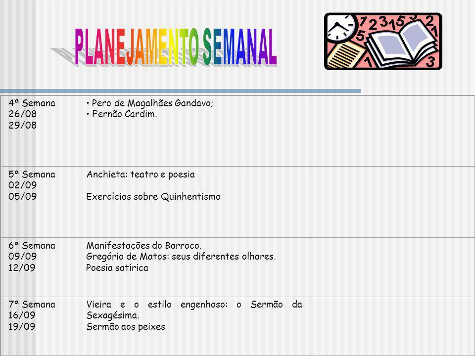PLANEJAMENTO SEMANAL 4ª Semana 26/08 29/08 Pero de Magalhães Gandavo;