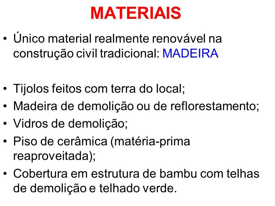 MATERIAIS Único material realmente renovável na construção civil tradicional: MADEIRA. Tijolos feitos com terra do local;