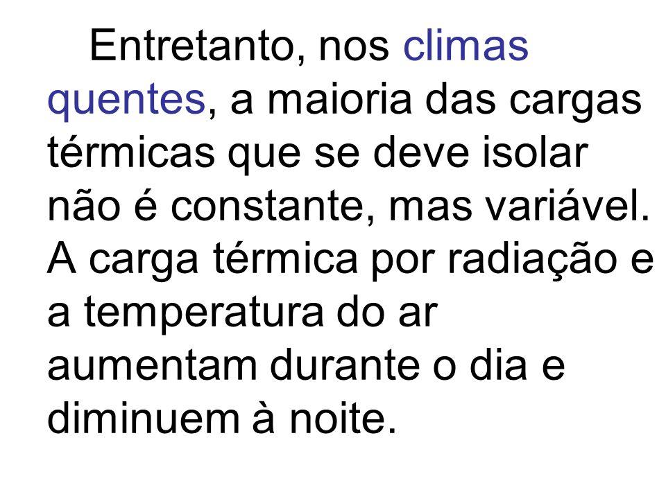 Entretanto, nos climas quentes, a maioria das cargas térmicas que se deve isolar não é constante, mas variável.
