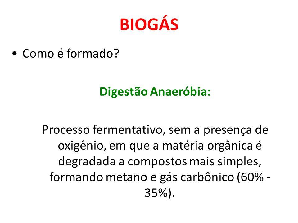 BIOGÁS Como é formado Digestão Anaeróbia:
