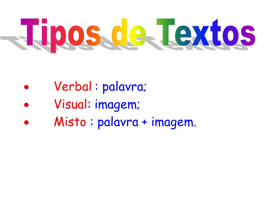 Tipos de Textos · Verbal : palavra; · Visual: imagem;