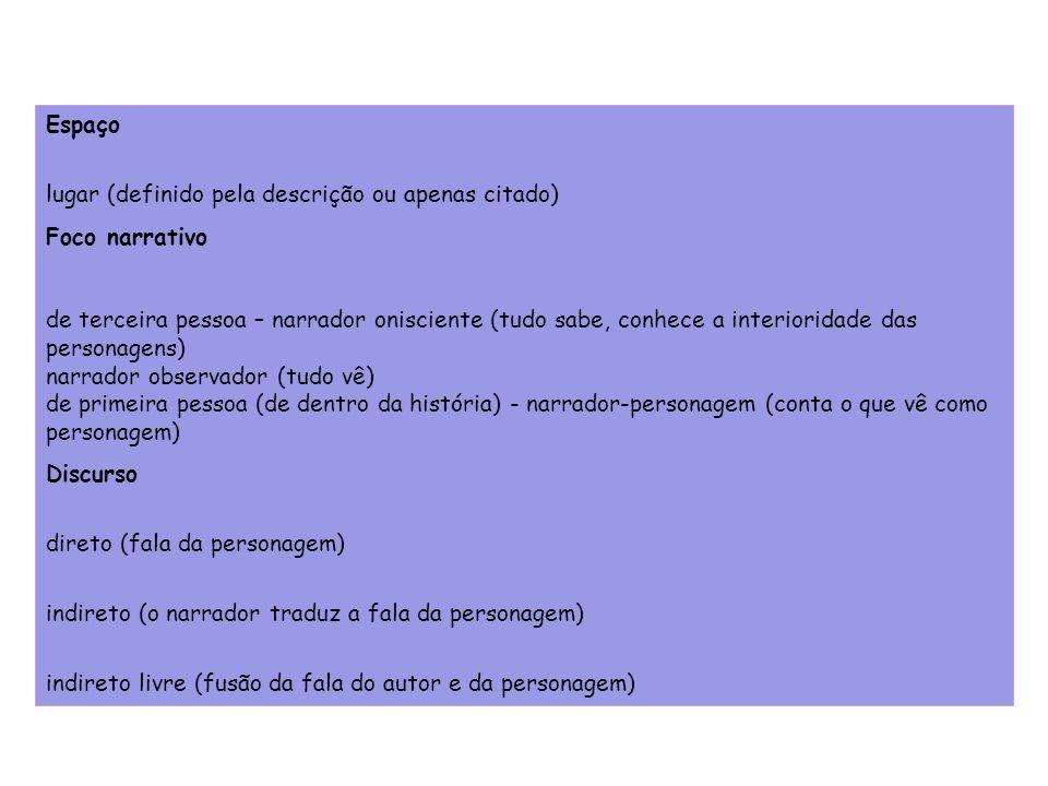 Espaçolugar (definido pela descrição ou apenas citado) Foco narrativo.