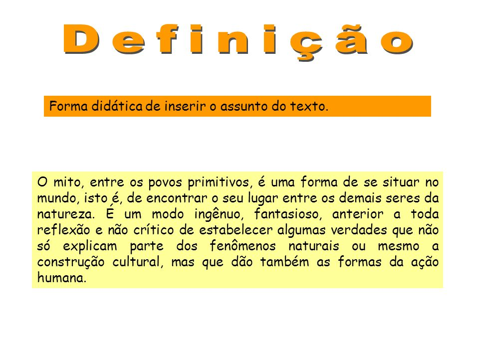 Definição Forma didática de inserir o assunto do texto.
