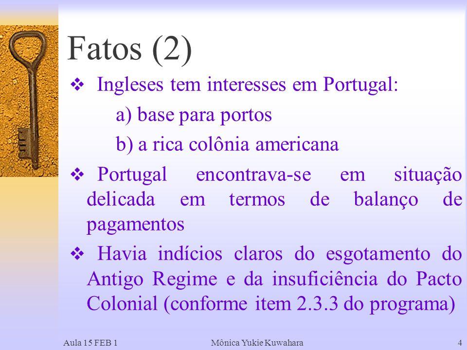 Fatos (2) Ingleses tem interesses em Portugal: a) base para portos