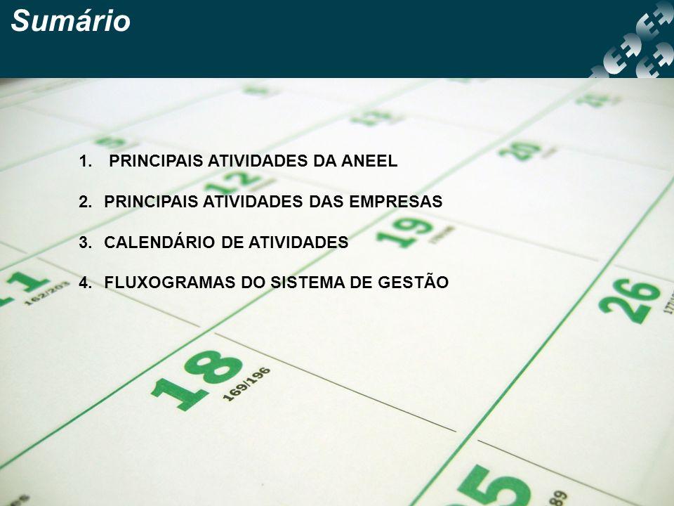 Sumário PRINCIPAIS ATIVIDADES DA ANEEL