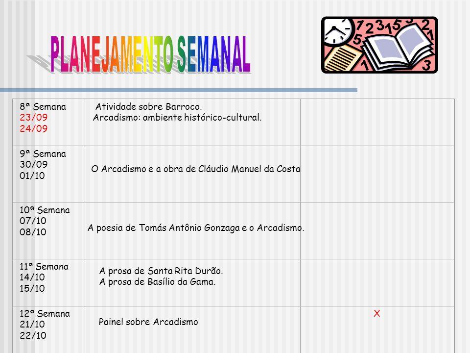 PLANEJAMENTO SEMANAL 8ª Semana 23/09 24/09 Atividade sobre Barroco.