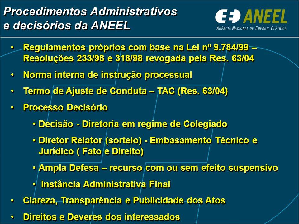 Procedimentos Administrativos e decisórios da ANEEL