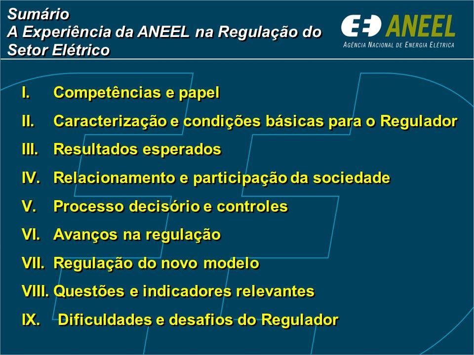 Sumário A Experiência da ANEEL na Regulação do. Setor Elétrico. Competências e papel. Caracterização e condições básicas para o Regulador.