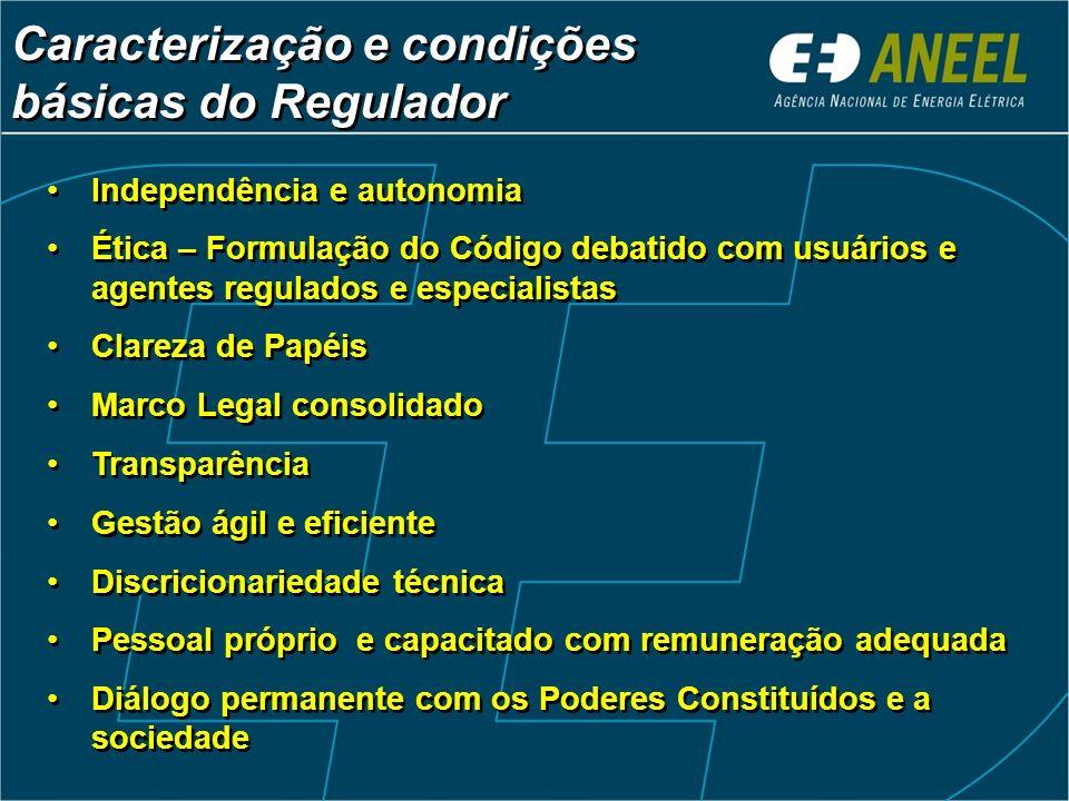 Caracterização e condições básicas do Regulador