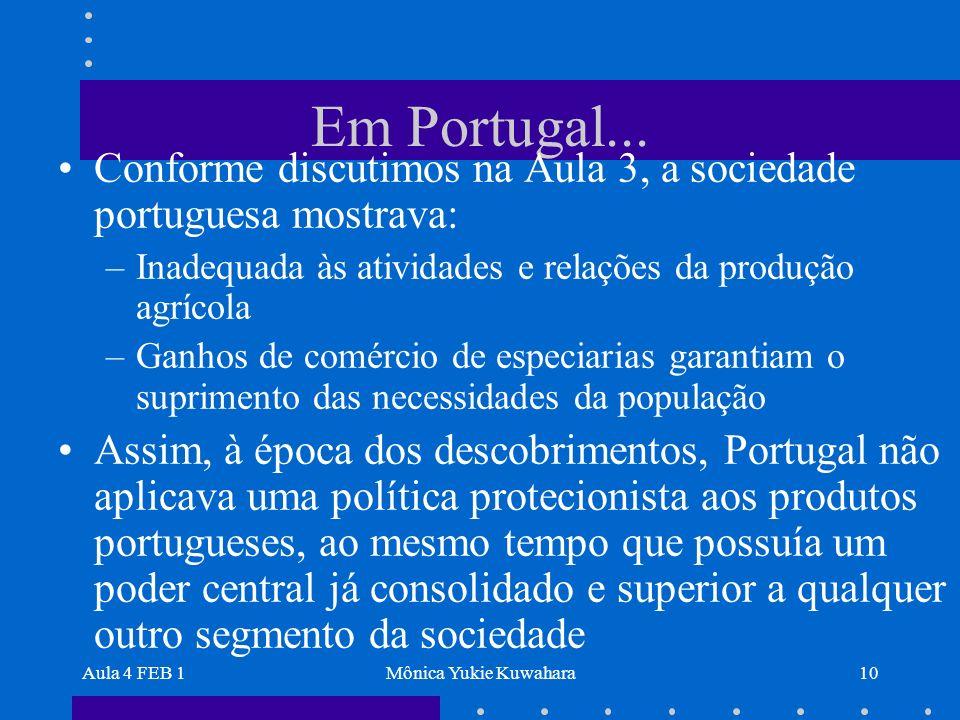 Em Portugal... Conforme discutimos na Aula 3, a sociedade portuguesa mostrava: Inadequada às atividades e relações da produção agrícola.