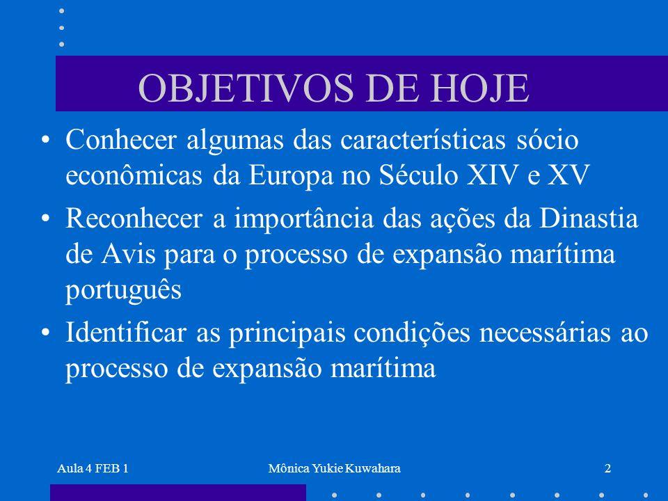 OBJETIVOS DE HOJE Conhecer algumas das características sócio econômicas da Europa no Século XIV e XV.