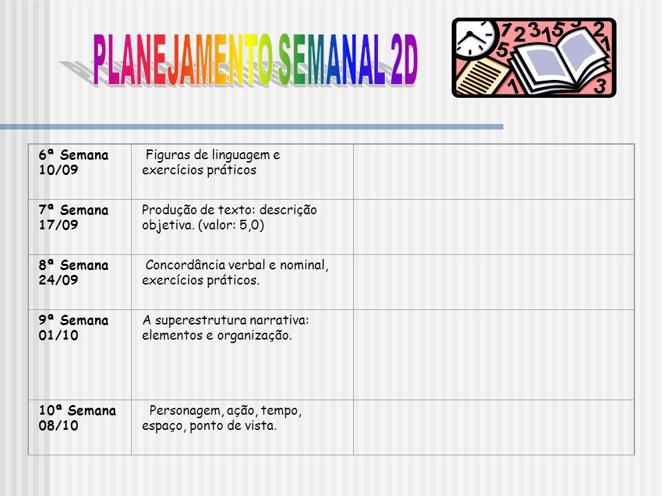 PLANEJAMENTO SEMANAL 2D