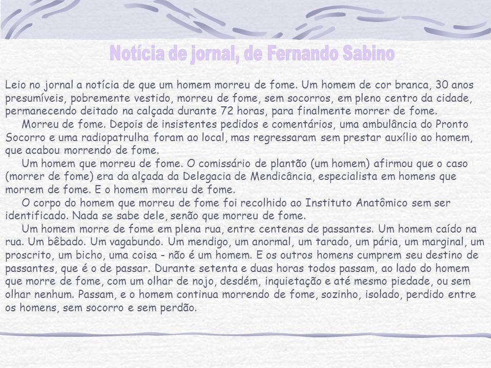 Notícia de jornal, de Fernando Sabino