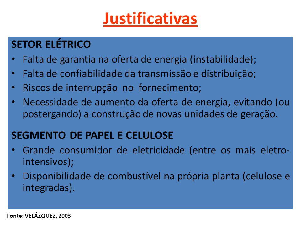 Justificativas SETOR ELÉTRICO SEGMENTO DE PAPEL E CELULOSE