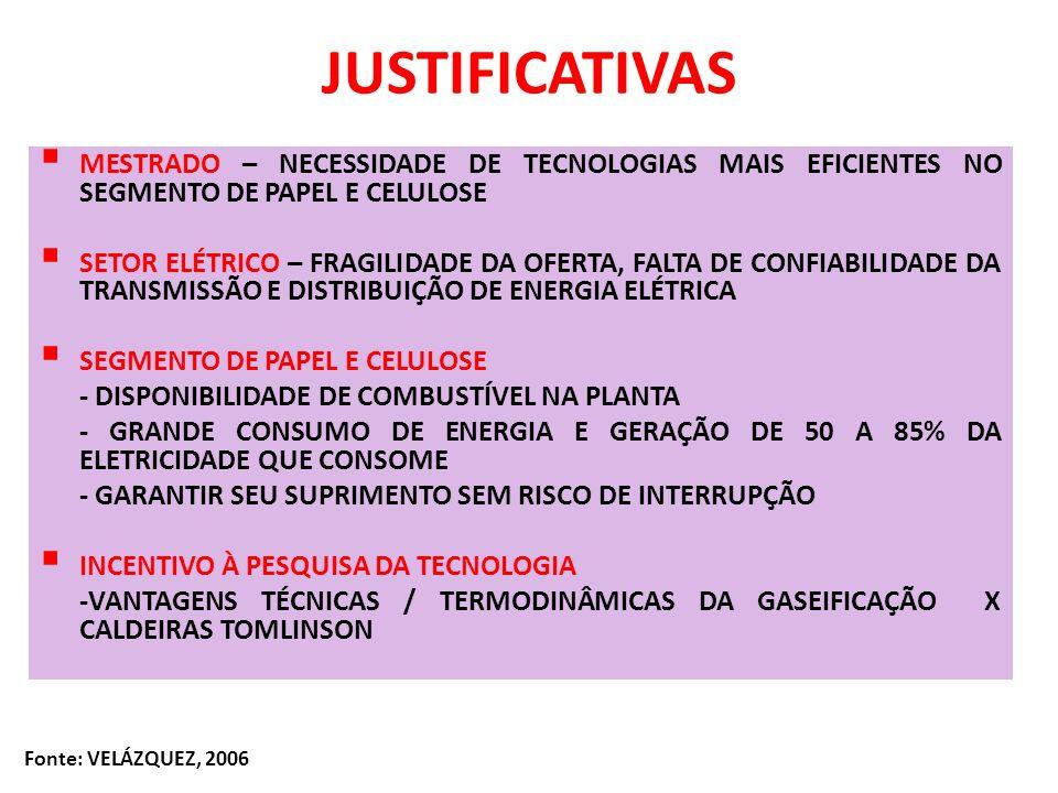 JUSTIFICATIVASMESTRADO – NECESSIDADE DE TECNOLOGIAS MAIS EFICIENTES NO SEGMENTO DE PAPEL E CELULOSE.