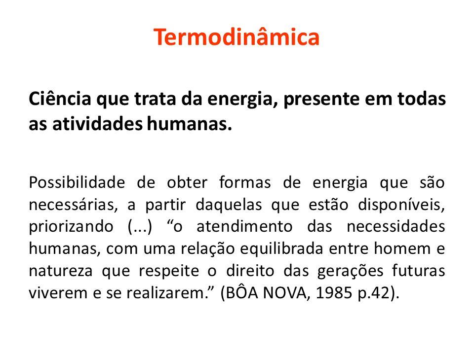 Termodinâmica Ciência que trata da energia, presente em todas as atividades humanas.