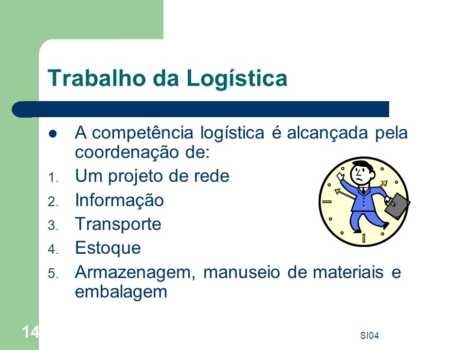 Trabalho da Logística A competência logística é alcançada pela coordenação de: Um projeto de rede.