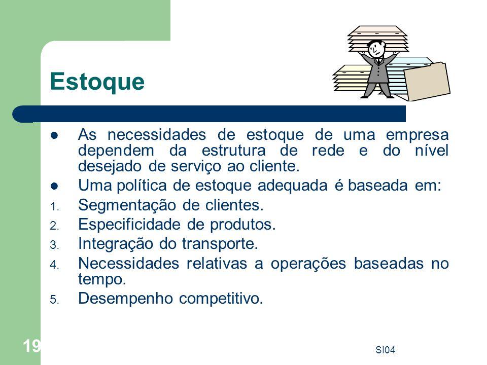 Estoque As necessidades de estoque de uma empresa dependem da estrutura de rede e do nível desejado de serviço ao cliente.