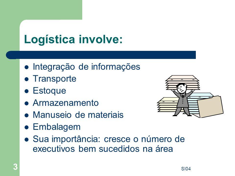 Logística involve: Integração de informações Transporte Estoque