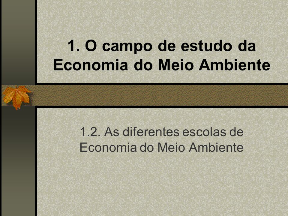 1. O campo de estudo da Economia do Meio Ambiente