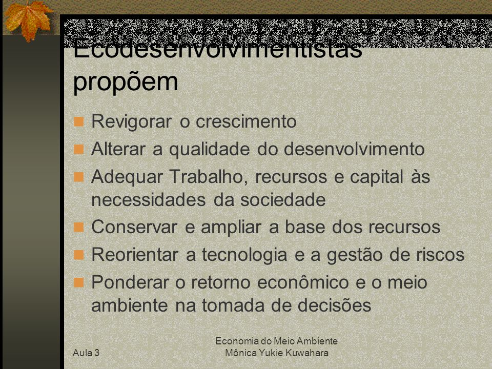 Ecodesenvolvimentistas propõem