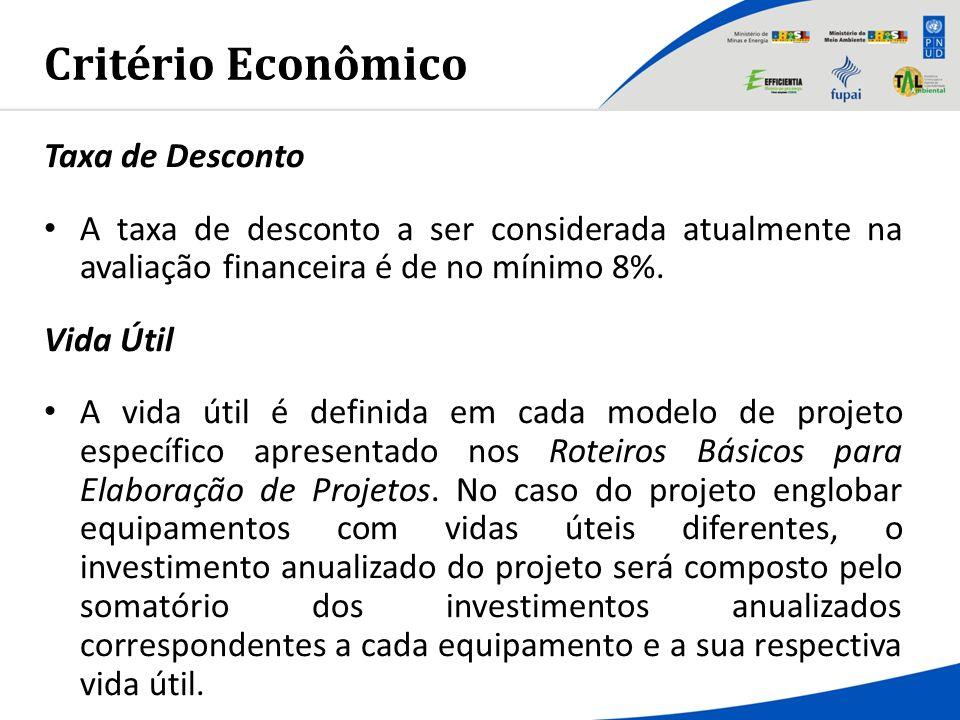 Critério Econômico Taxa de Desconto