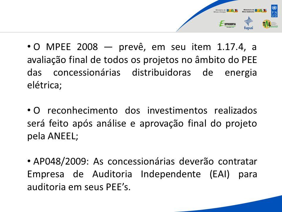 O MPEE 2008 — prevê, em seu item 1. 17