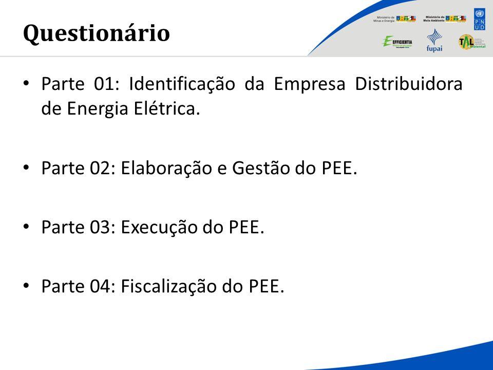 Questionário Parte 01: Identificação da Empresa Distribuidora de Energia Elétrica. Parte 02: Elaboração e Gestão do PEE.