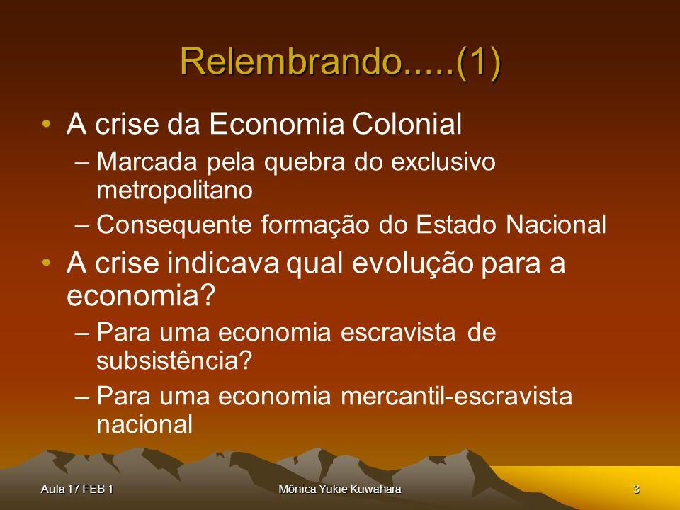 Relembrando.....(1) A crise da Economia Colonial