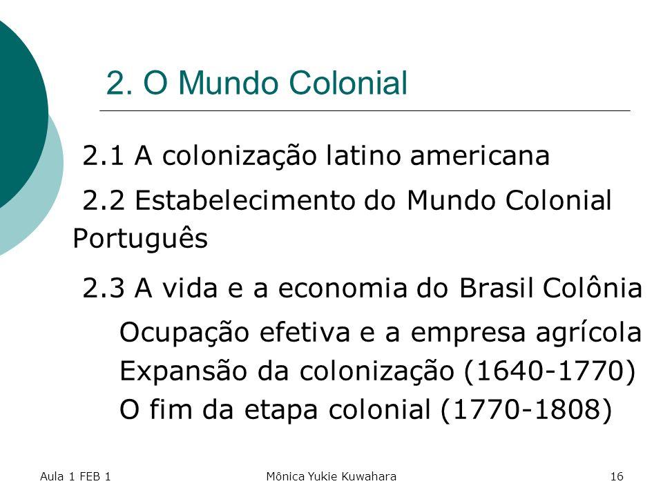 2. O Mundo Colonial 2.1 A colonização latino americana
