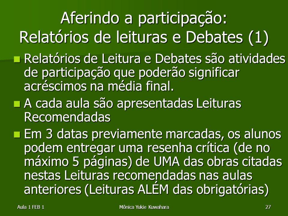 Aferindo a participação: Relatórios de leituras e Debates (1)