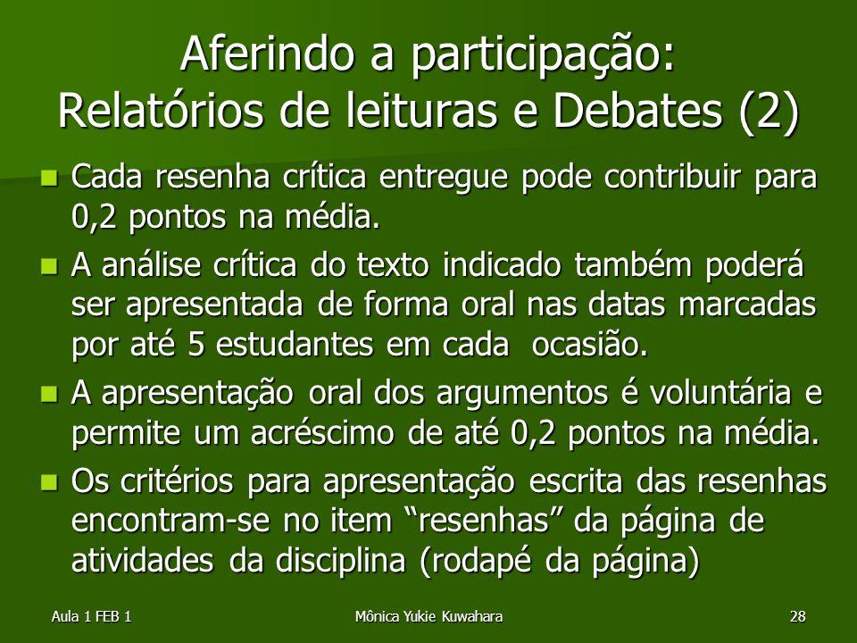 Aferindo a participação: Relatórios de leituras e Debates (2)