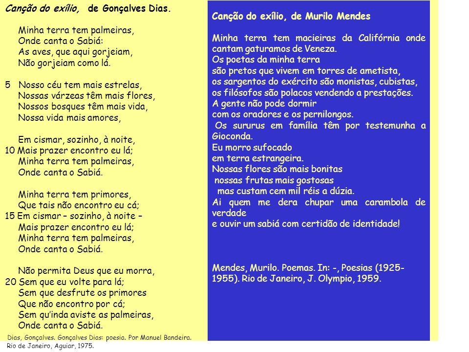Canção do exílio, de Gonçalves Dias. Minha terra tem palmeiras,