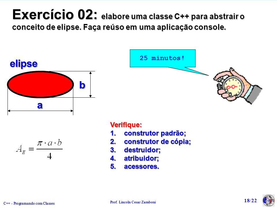 Exercício 02: elabore uma classe C++ para abstrair o conceito de elipse. Faça reúso em uma aplicação console.