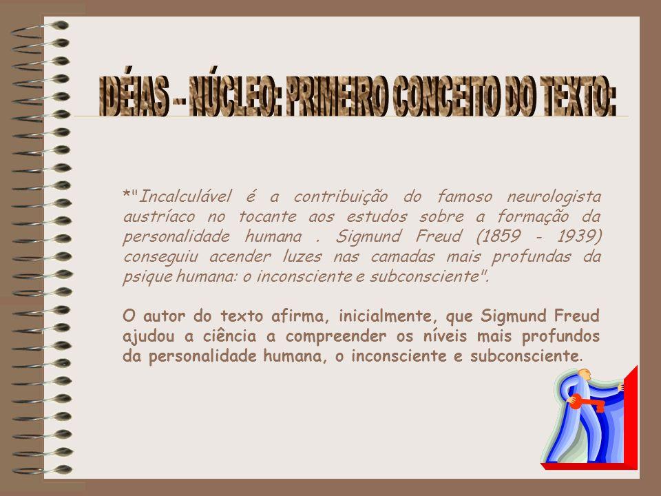 IDÉIAS – NÚCLEO: PRIMEIRO CONCEITO DO TEXTO: