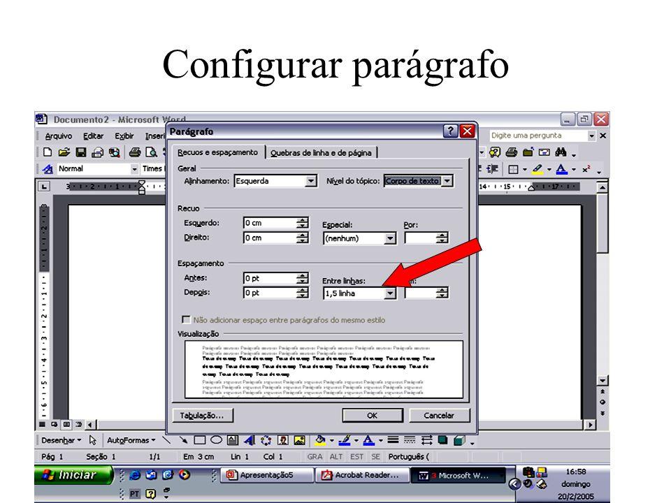 Configurar parágrafo