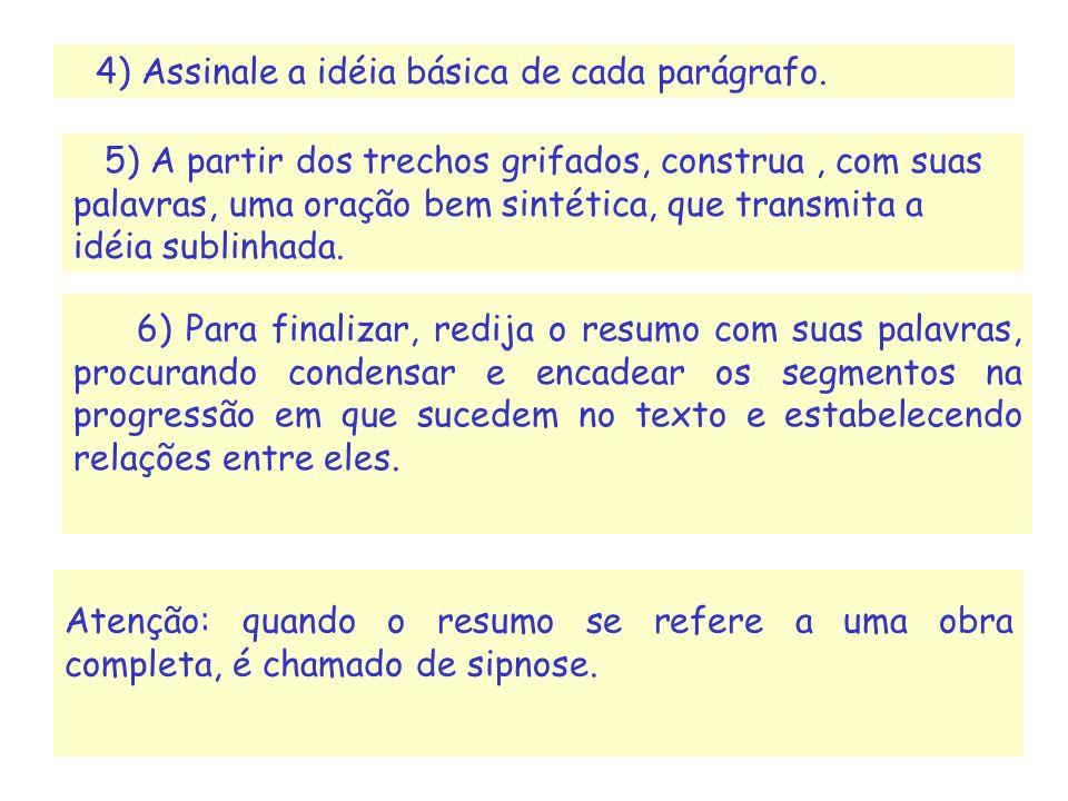 4) Assinale a idéia básica de cada parágrafo.