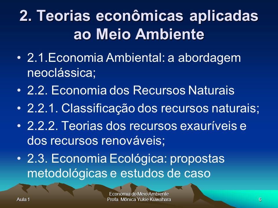 2. Teorias econômicas aplicadas ao Meio Ambiente