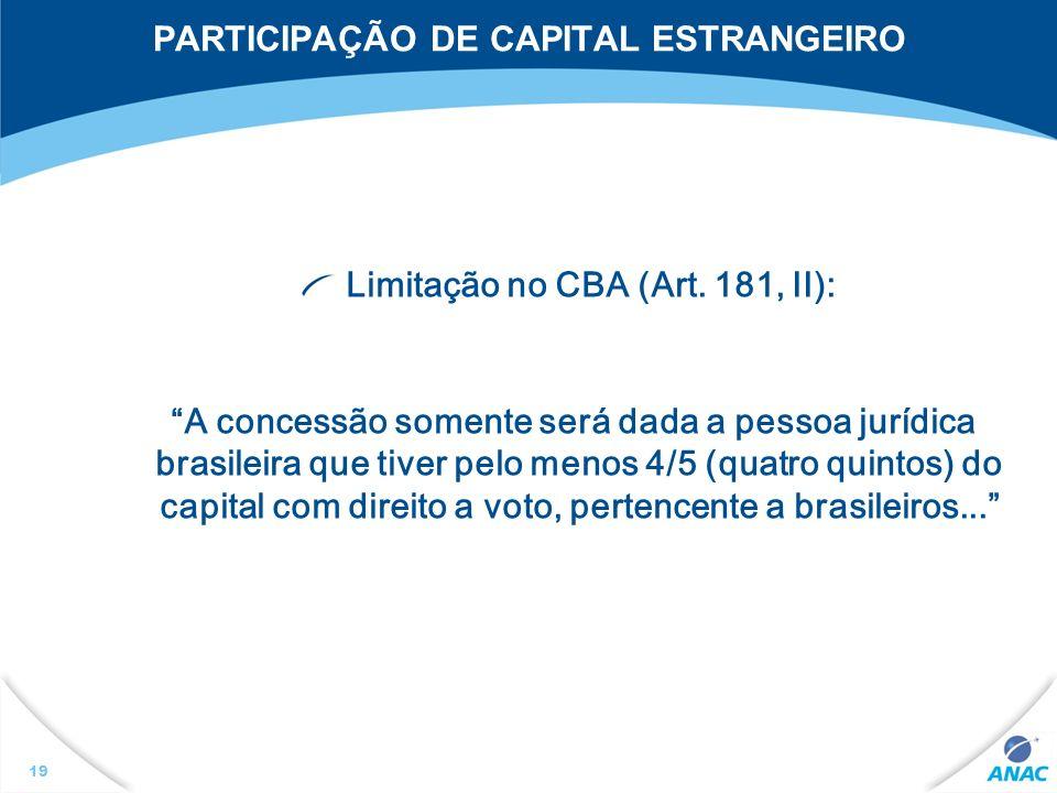 PARTICIPAÇÃO DE CAPITAL ESTRANGEIRO
