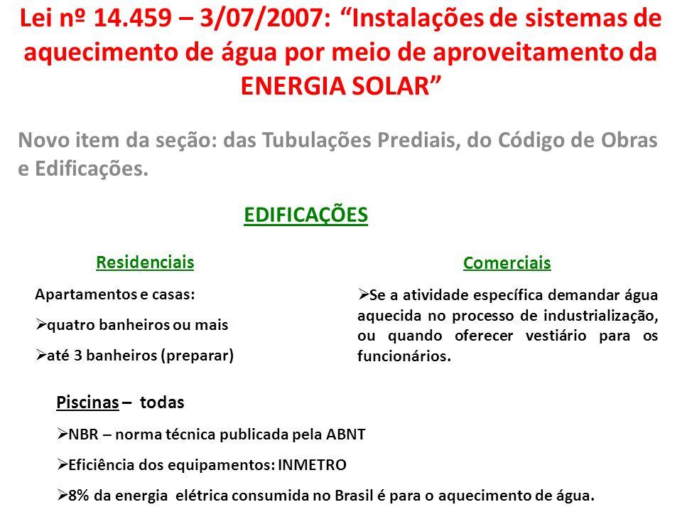 Lei nº 14.459 – 3/07/2007: Instalações de sistemas de aquecimento de água por meio de aproveitamento da ENERGIA SOLAR