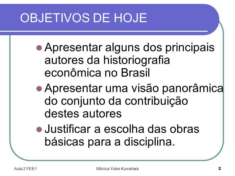 OBJETIVOS DE HOJE Apresentar alguns dos principais autores da historiografia econômica no Brasil.