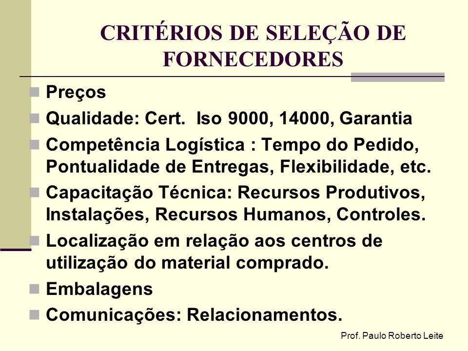 CRITÉRIOS DE SELEÇÃO DE FORNECEDORES