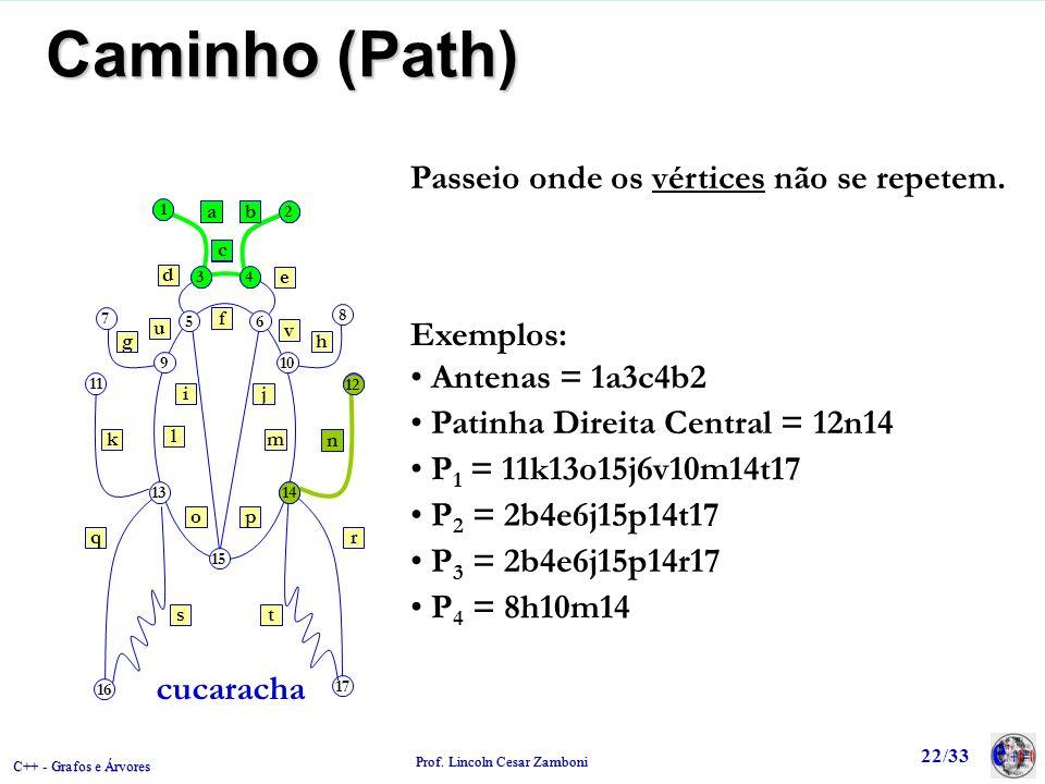 Caminho (Path) Passeio onde os vértices não se repetem. Exemplos: