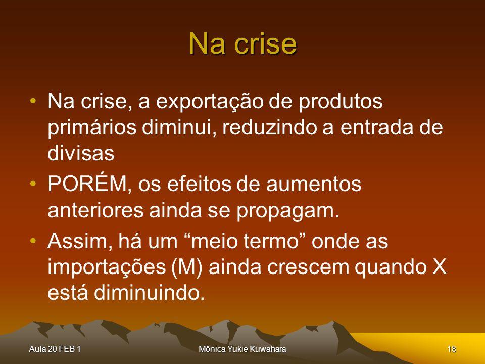 Na crise Na crise, a exportação de produtos primários diminui, reduzindo a entrada de divisas.