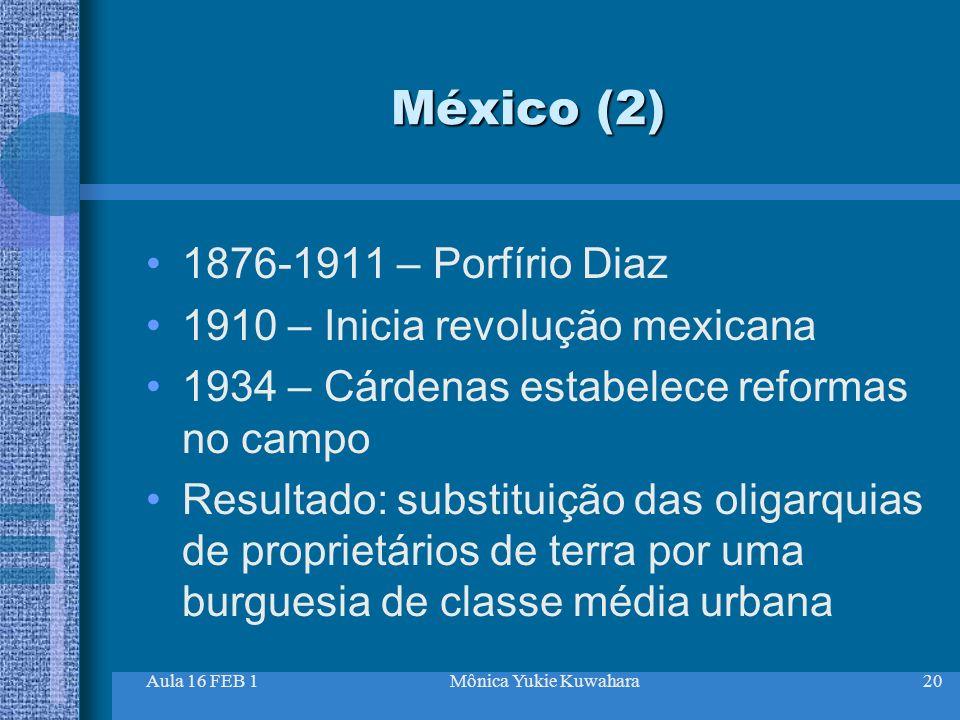 México (2) 1876-1911 – Porfírio Diaz 1910 – Inicia revolução mexicana