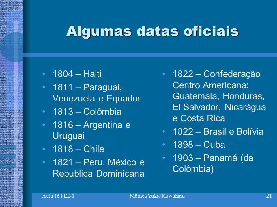 Algumas datas oficiais